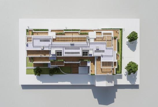 Wohnbauprojektmodell, Topview, Modell 1:100, Modell Materialien: Polystyrol, Plexiglas,  Acryl