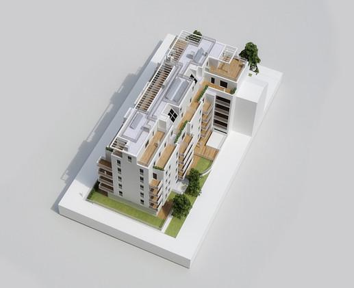 Immobilienmodell in Maßstab 1:100,  Modell Materialien: Polystyrol, Plexiglas,  Acryl
