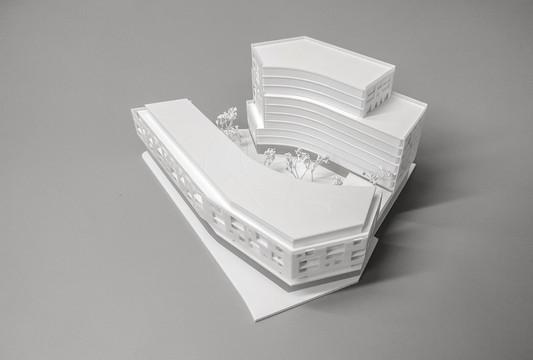 Weiß Wettbewerbmodell, Modell 1:200, Modell Material Kunststoff – Polystyrol