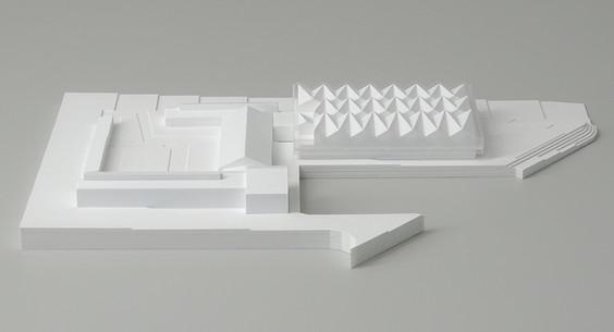 Architekturmodell der Schule , Weiß Wettbewerbmodell, Modell 1:200, Modell Material Kunststoff – Polystyrol