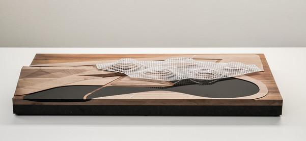 Architekturmodell DMMA, Modell in Maßstab 1:1000, Modell Materialien: Holz, Metal, Plastik, Polystyrol, Acryl