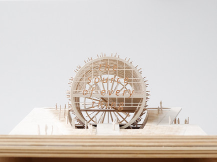 Architekturmodell aus Flugzeugsperrholz, Massstab 1:500