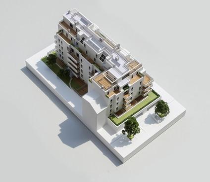 Wohnbauprojektmodell,  Maßstab 1:100, Modell Materialien: Polystyrol, Plexiglas,  Acryl