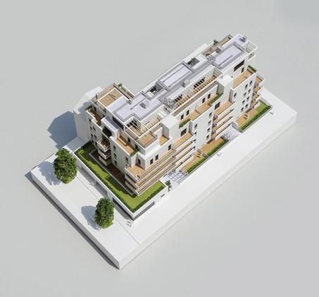 Wohnbauprojektmodell in Maßstab 1:100, Modell Materialien: Polystyrol, Plexiglas,  Acryl