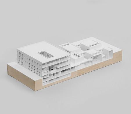 Schnittmodell von Scala Matta, Modell in Maßstab 1:200, Modell Materialien: Polystyrol, Holz
