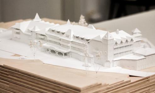 Umgebungsmodell in Maßstab 1:200, Modell Materialien: Holz