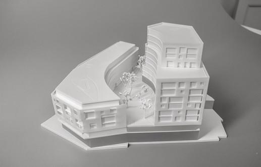 Weiß Architekturmodell, Modell 1:200, Modell Material Kunststoff - Polystyrol