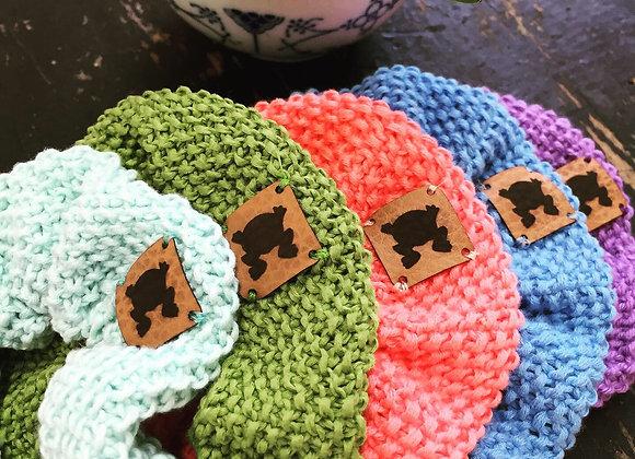 Hand-knit cotton scrunchies