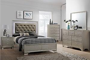 4300 lyssa bedroom suite, silver bedroom suite, bedroom, wood, queen bed, silver bed, lighted headboard, queen bed with lights, crown mark,