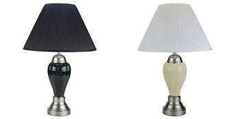 6115 Chrome and porcelain table lamps white and black