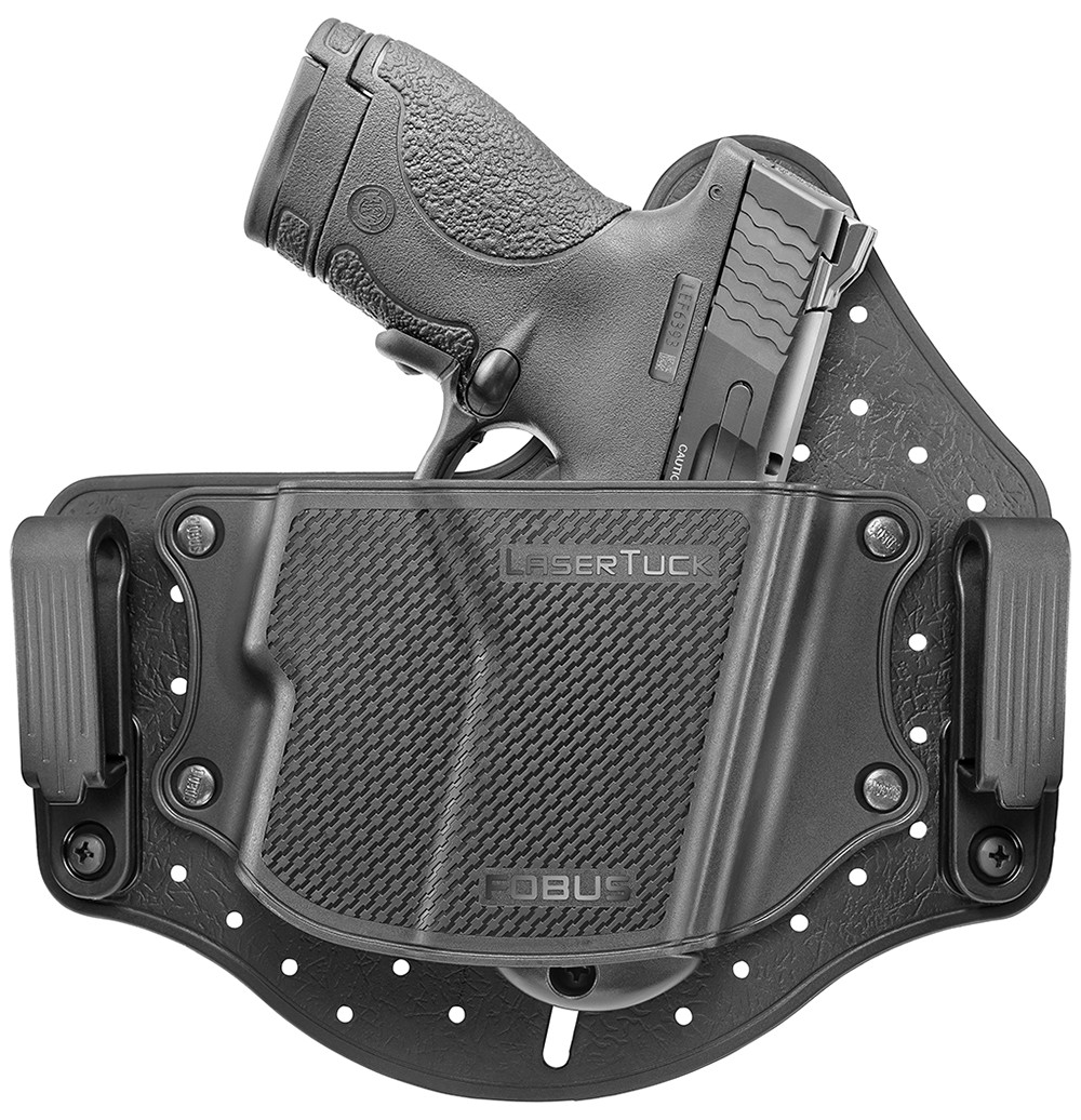 About the Holster LaserTuck is designed for carrying multiple sub-compact single-stack pistols with trigger guard lasers installed - inside your waistband. The holster is built from a flexible back that buffers between pistol & body; a non-collapsing shell that covers the pistol; two belt clips to position the holster at waistband height, with three height positions each, to allow cant adjustment; it has an internal spring for stabilizing the pistol in the holster, and an adjustable stopper to control how deep the pistol sits inside the holster.   The holster is lightweight, fully tuckable, completely washable, ventilated, highly durable, it is contoured for maximum comfort, and divides the pistol weight over a relatively broad area making it extremely convenient for every day concealed carry.