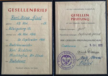 Gesellenbrief Heinz Glasl