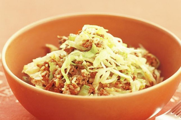 Hi Fi Min (curried mince with cabbage and rice)
