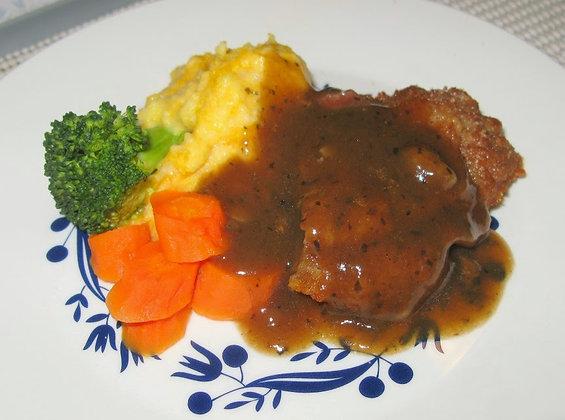 Crumbed steak with mash, veg and gravy