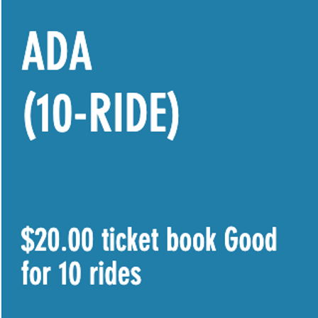 Reduced Fare ADA (10-RIDE) Ticket Book