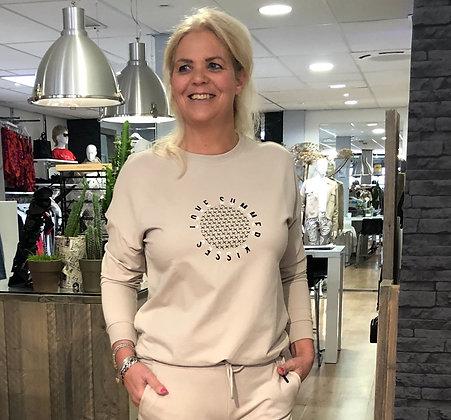 Trui Sweater Elvira Sand Tekst Zwart