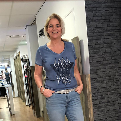 T-Shirt Poools Blauw Print
