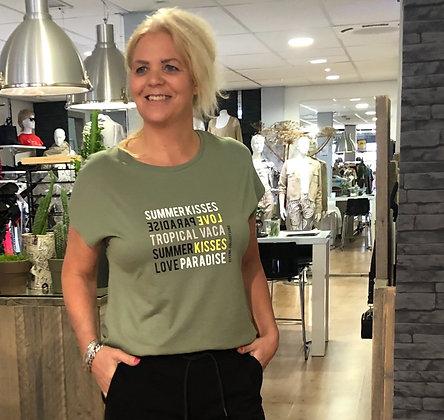 T-Shirt Elvira Groen Tekst Geel