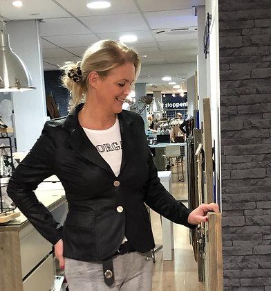Helena Hart Blazer Faux Leather Zwart