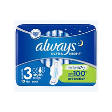Always Ultra Night with Wings Sanitary Towels x10