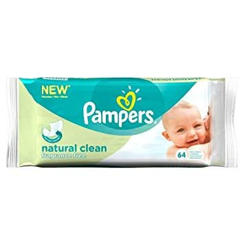 Pampers Natural Clean Unscented Baby Wipes x64