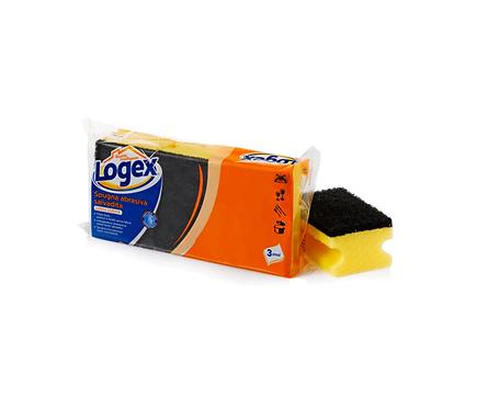 Logex Abrasive Kitchen Sponges x3
