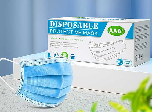Disposable 3 Layer Face Masks x50
