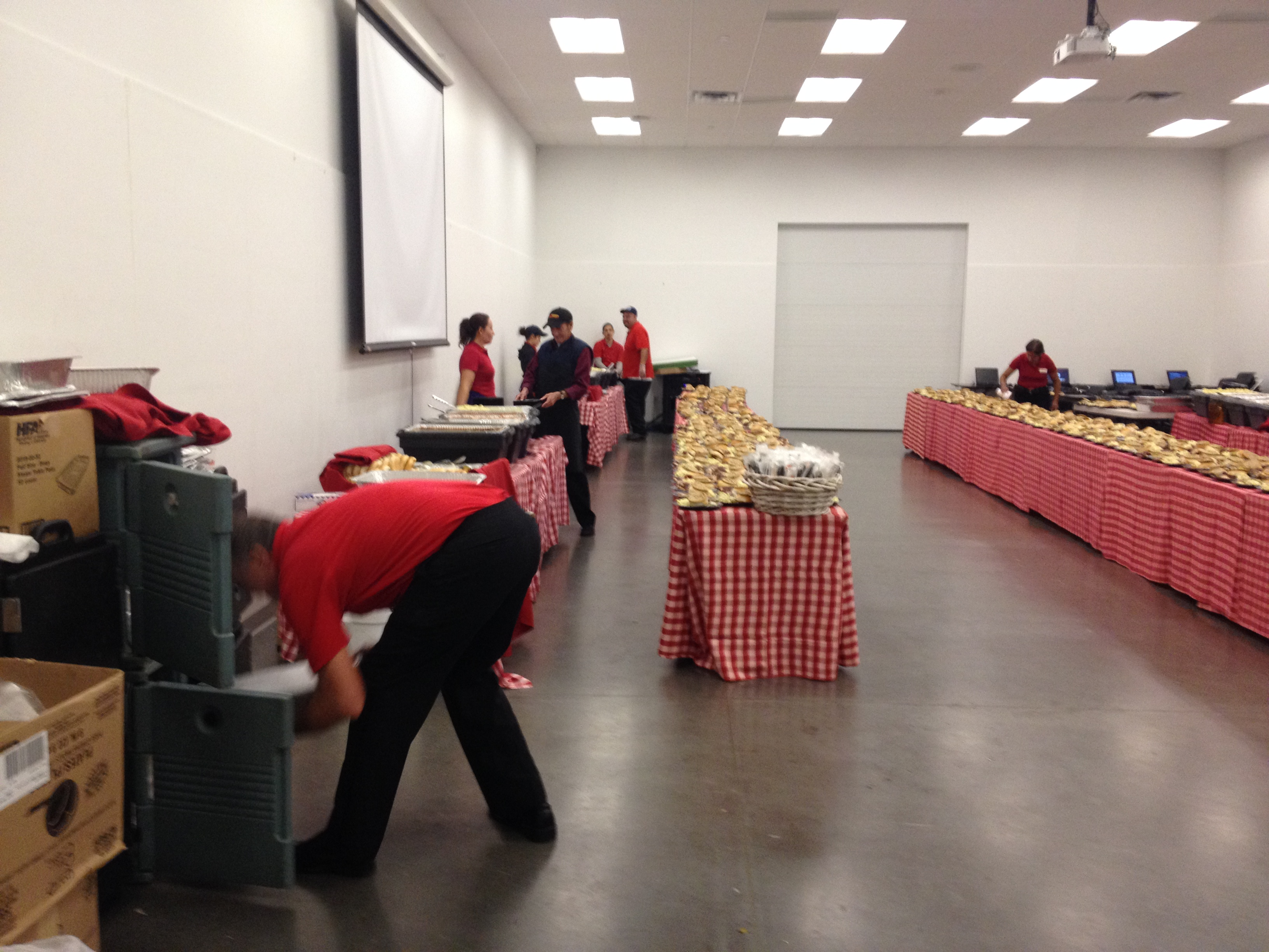 Crusaders Helping Setup Banquet