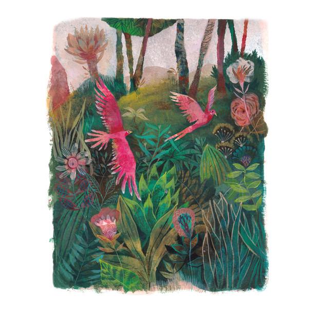 Oiseaux-Roses-jungle-verte-HRPainting-20