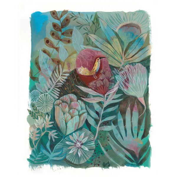 Oiseau-Jaune-Fleurs-Vertes-HR-Painting-2