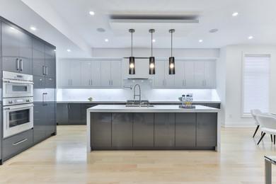 modern white quartz kitchen