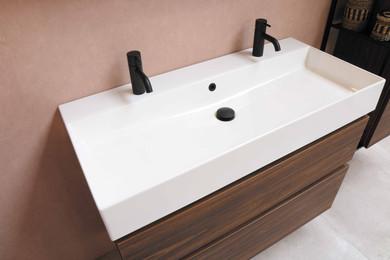 Large double faucet single bowl