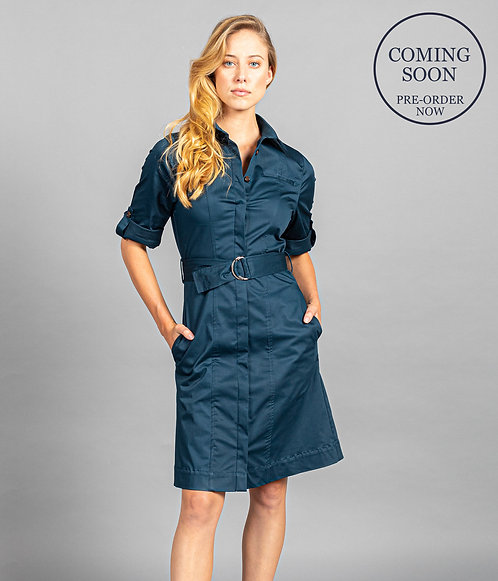 Riley Sateen Belted Shirtdress