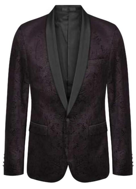 107772J Mens Button Self Paisley Velvet Jacket