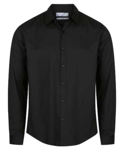 Maurio Mens Long Sleeve Slim Fit Sportsshirt Plain