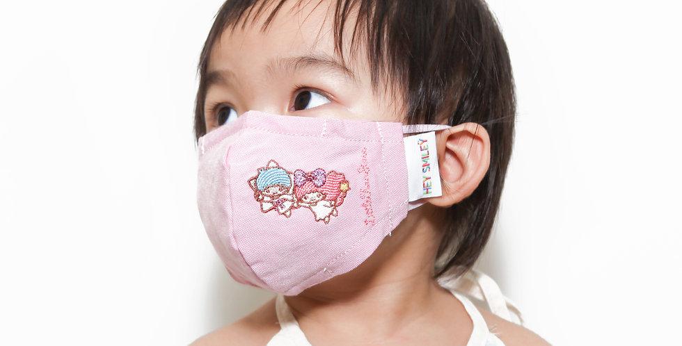 Little Twin Stars (粉紅色)牛津紡口罩連索繩袋套裝 (成人及中童尺寸)