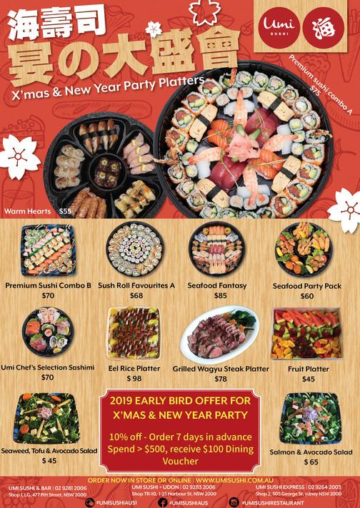 Umi Sushi Chrismas share Platter