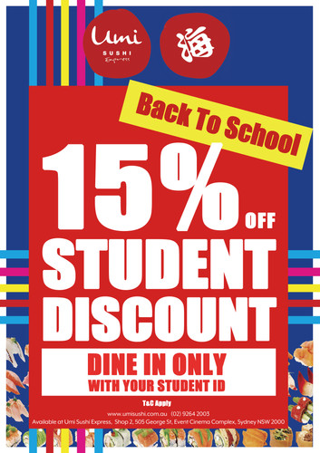 Umi Sushi Express 15% student disccount