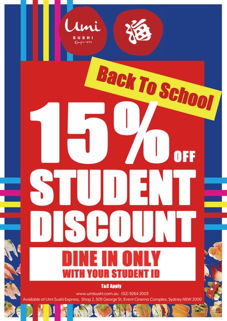 Umi Sushi Express 15% student disccount