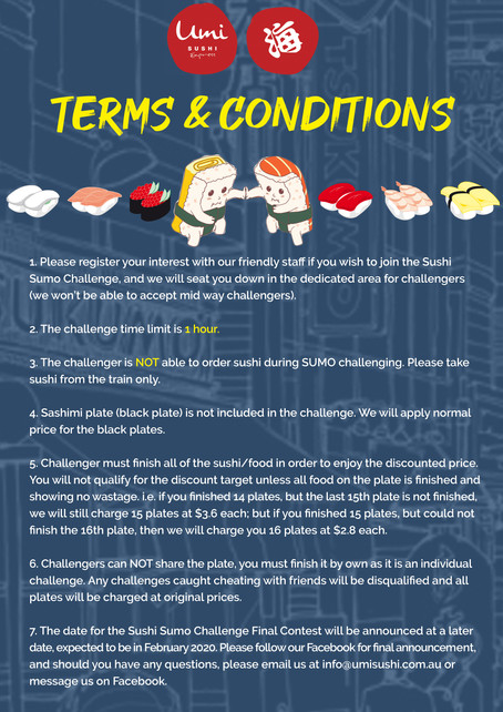 Umi Sushi Express Sushi Sumo Challenge Terms & Conditions