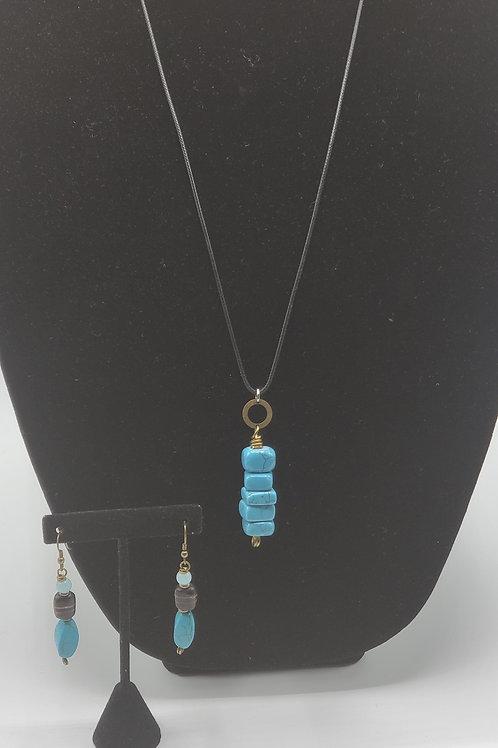 Turquoise Pendant Necklace Set