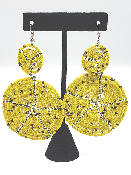 Yellow/Gold Accent Circle Earrings