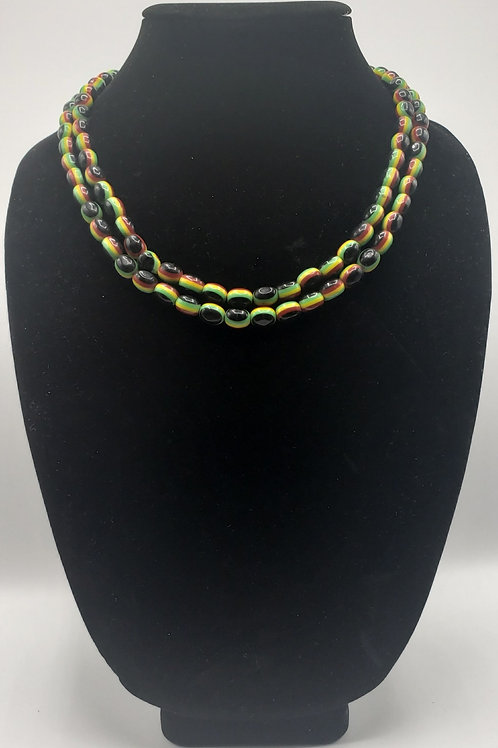Rasta Color Bead Necklace