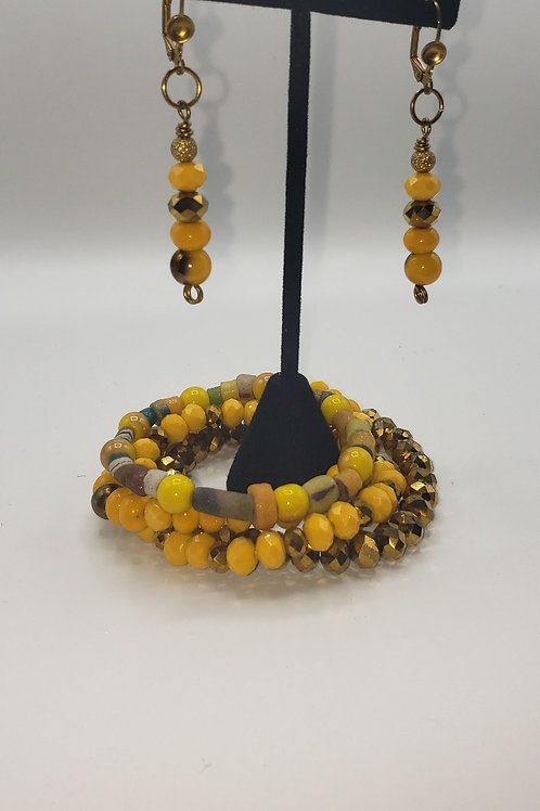 Yellow & Gold Bracelet/Earring Set