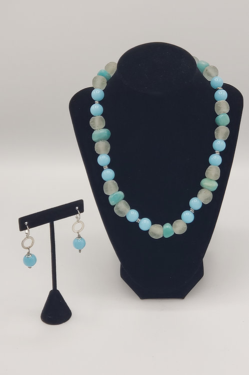 Glass Bead Necklace/Earring Set