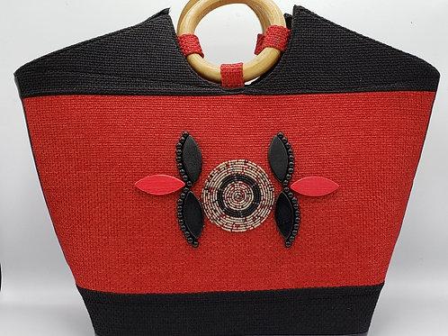 Red/Black Jute Handbag