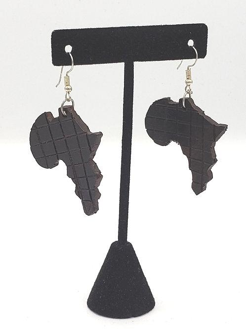 Ebony Wood Africa Earrings