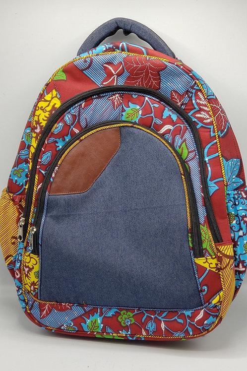 Oversized Denim & Floral Backpack