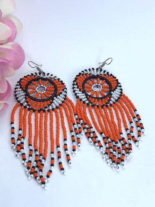 Dream Catcher Earrings (Orange/Black/White)