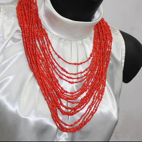 Layered Bead Necklace with Matching Earrings